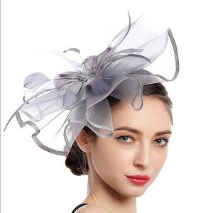 Gray Feather Fascinator Hat